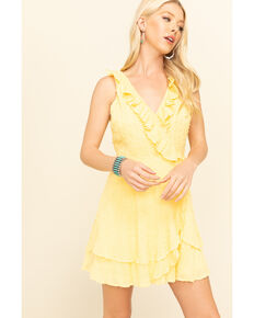 Loveriche Women's Yellow Ruffle Trim Wrap Dress, Yellow, hi-res