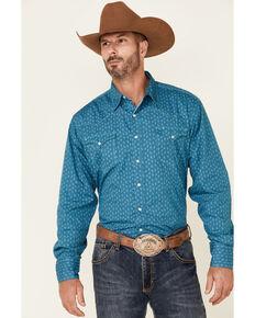 Roper Men's Teal Tone Geo Print Long Sleeve Snap Western Shirt , Teal, hi-res