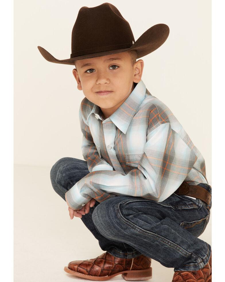 Amarillo Boys' Copper Ridge Dawn Ombre Plaid Long Sleeve Snap Western Shirt , Multi, hi-res