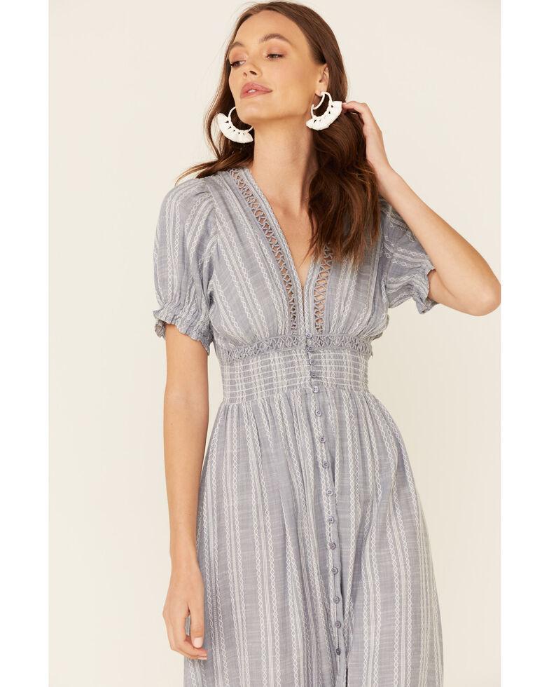 Elan Women's Blue Striped V-Neck Dress, Blue, hi-res