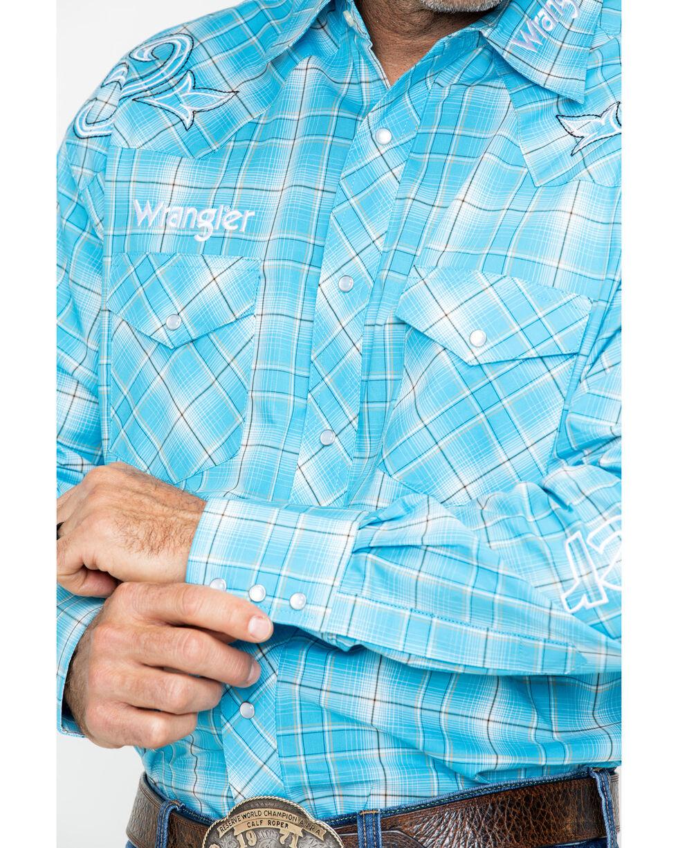 Wrangler Men's Light Blue Plaid Wrangler Logo Shirt, Light Blue, hi-res