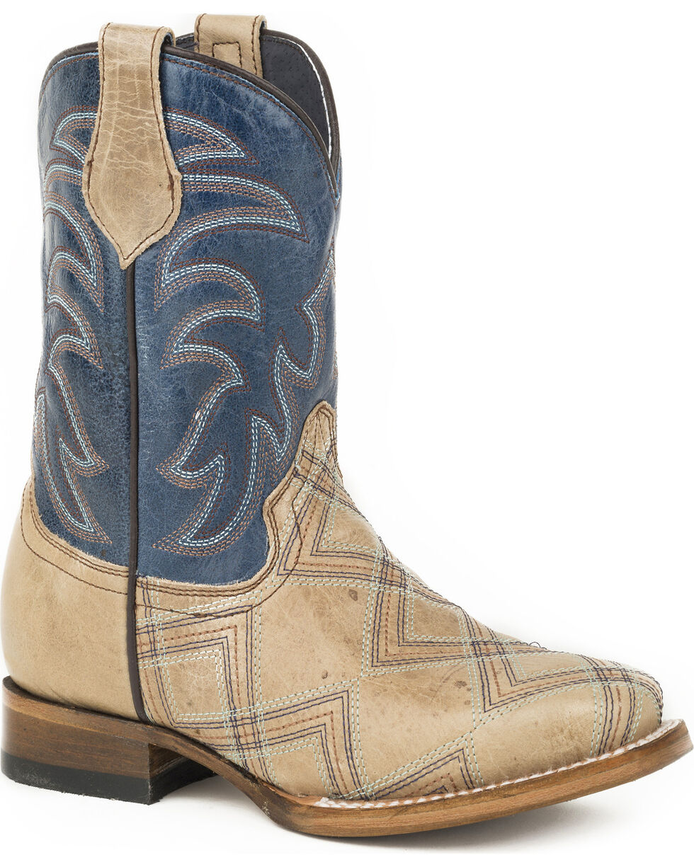 Roper Boys' Brown Kyle Leather Boots - Square Toe , Brown, hi-res