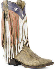 Roper Women's Brown Americana Fringe Boots - Snip Toe , Brown, hi-res