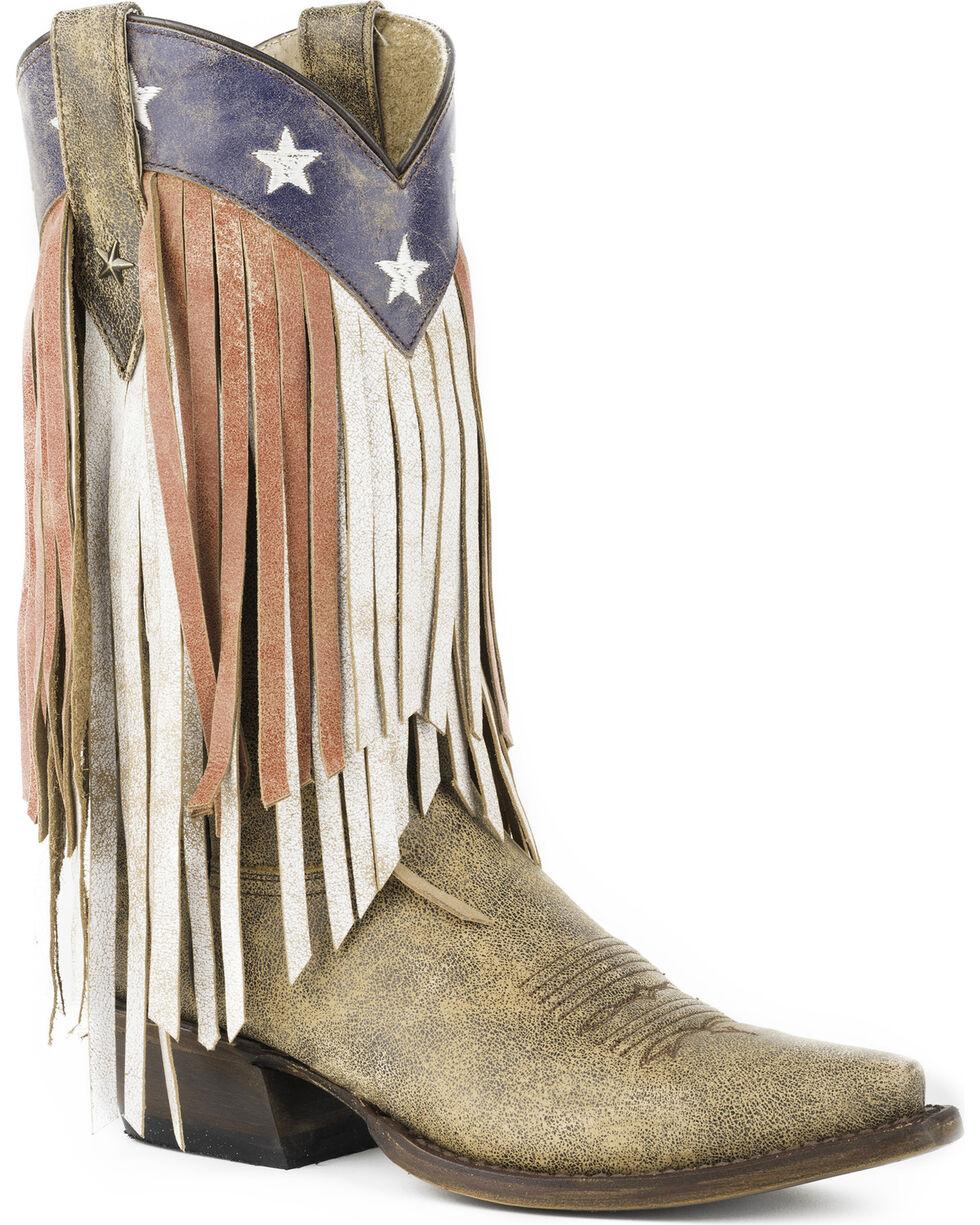 Roper Women's Brown Americana Fringe Boots - Snip Toe , Brown, hi-res