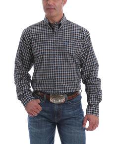 Cinch Men's Navy Med Plaid Long Sleeve Western Shirt , Navy, hi-res