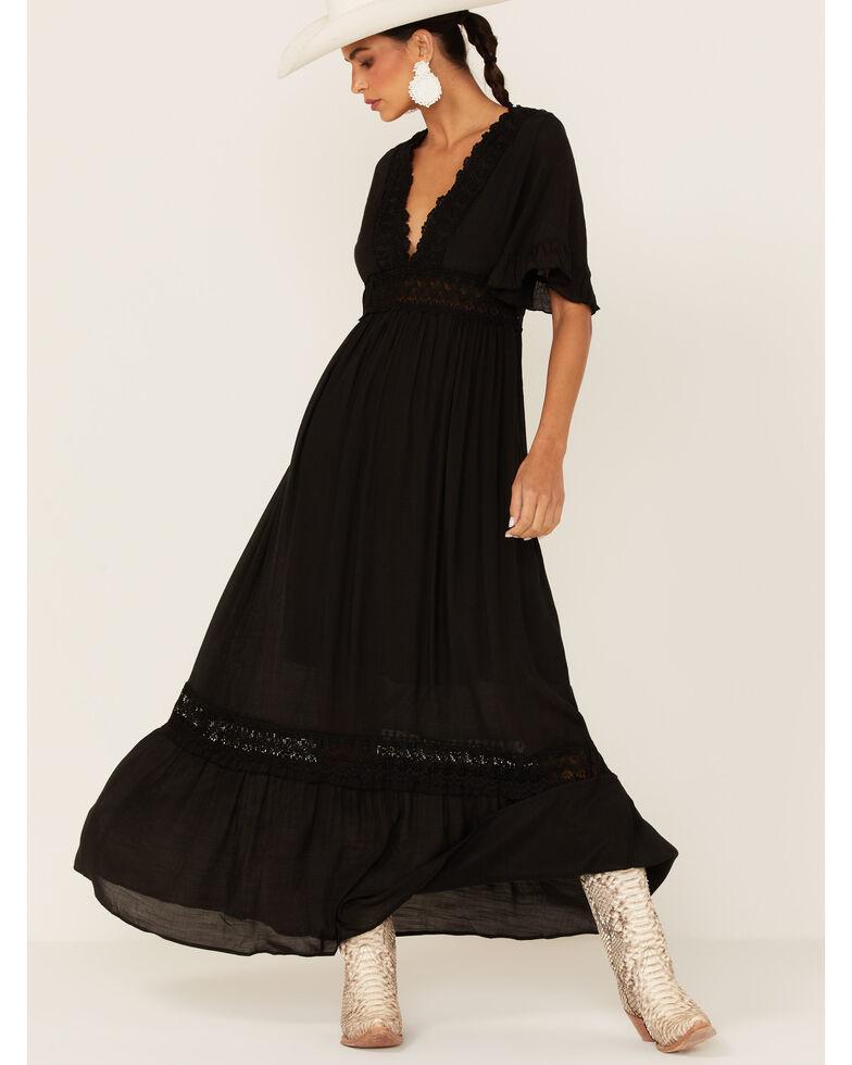 Wishlist Women's Lace Trim Maxi Dress, Black, hi-res