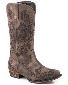 Roper Women's Tall Stuff Western Boots - Snip Toe, Brown, hi-res