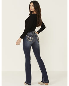 Miss Me Women's Medium Wash Slim Bootcut Horseshoe Longhorn Jeans , Blue, hi-res