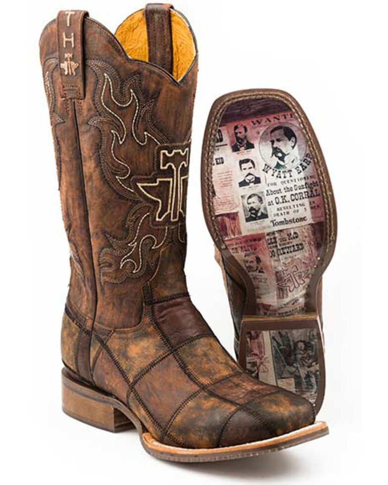 Tin Haul Men's Dead Or Alive Western Boots - Wide Square Toe, Brown, hi-res