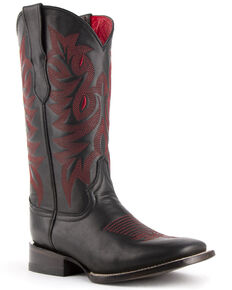 Ferrini Women's Jane Western Boots - Wide Square Toe, Black, hi-res