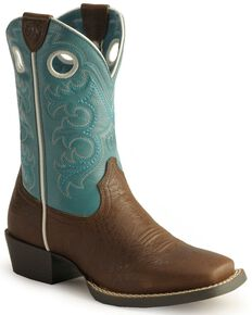Ariat Boys' Crossfire Cowboy Boots - Square Toe, Brown, hi-res