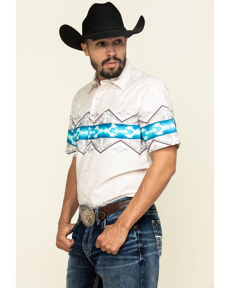 Roper Men's White Vintage Aztec Border Print Short Sleeve Western Shirt , White, hi-res