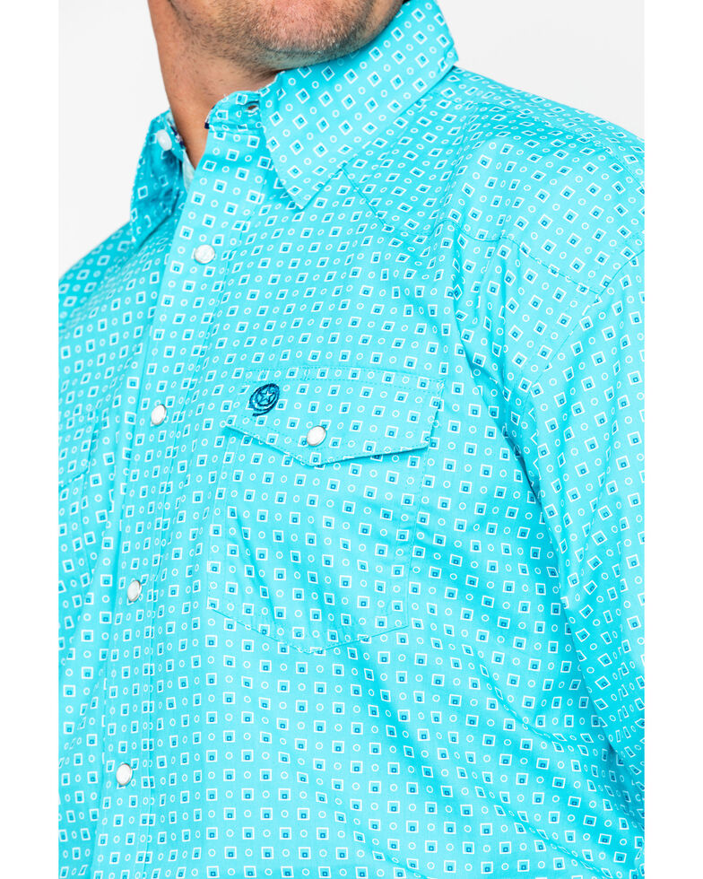 George Strait by Wrangler Men's Turquoise Troubadour Long Sleeve Western Shirt, Turquoise, hi-res