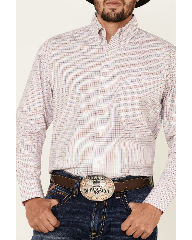 George Strait By Wrangler Men's Pink Small Plaid Long Sleeve Western Shirt , Pink, hi-res