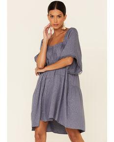 Luna Chix Women's Jacquard Tiered Peasant Dress, Charcoal, hi-res