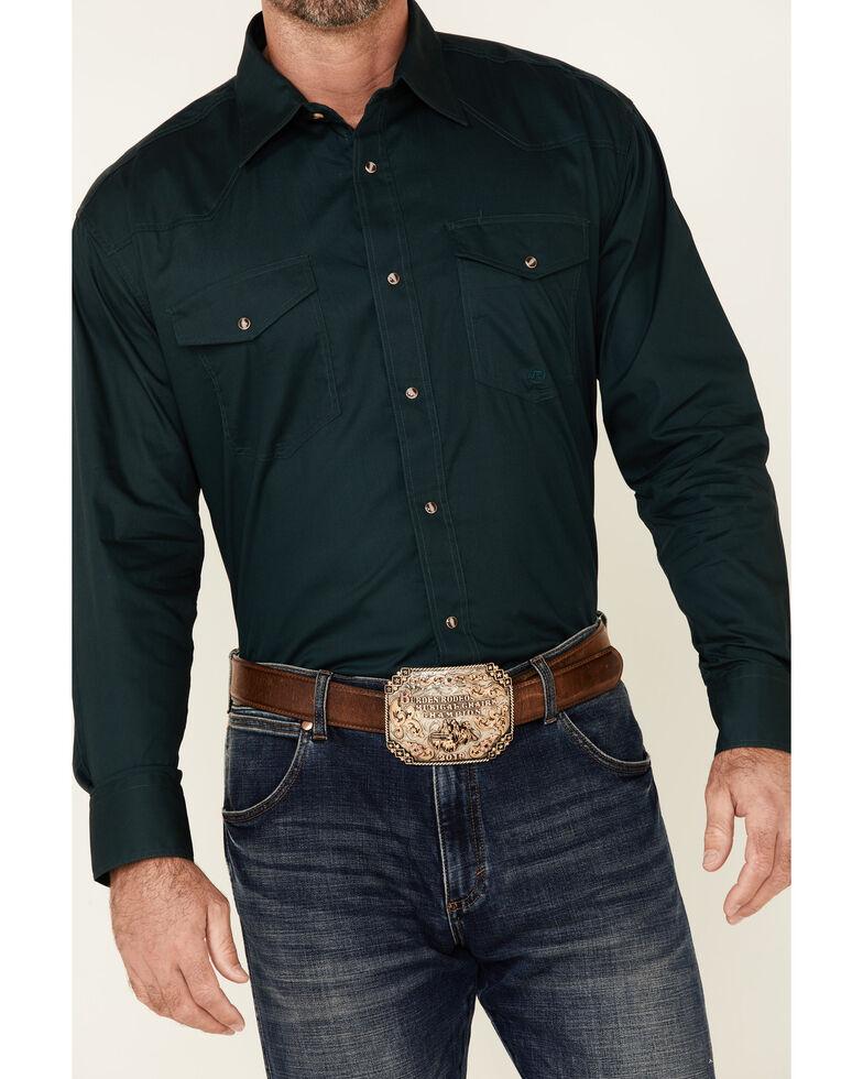 Roper Men's Amarillo Collection Solid Long Sleeve Western Shirt, Hunter Green, hi-res
