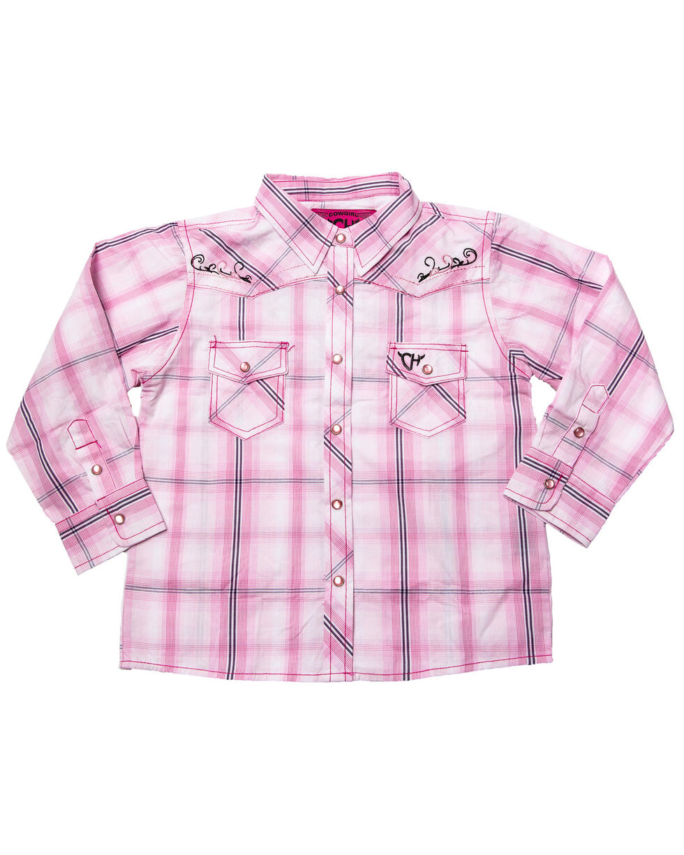 Cowgirl Hardware Toddler Girls' Embroidered Cowgirl Plaid Long Sleeve Western Shirt, Pink, hi-res