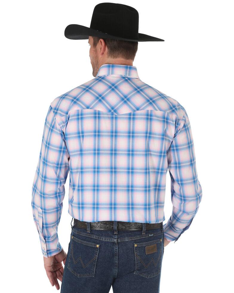 Wrangler Men's Tough Enough To Wear Pink Plaid Long Sleeve Western Shirt , Pink, hi-res