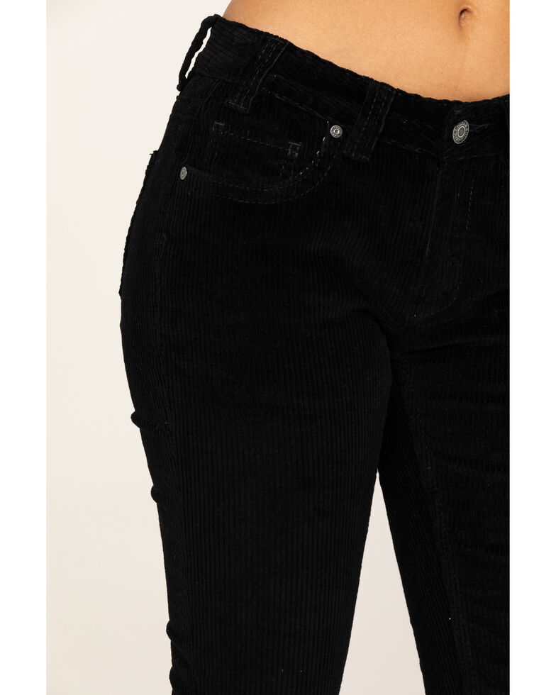 Rock & Roll Denim Women's Black Corduroy Wide Flare Pants, Black, hi-res