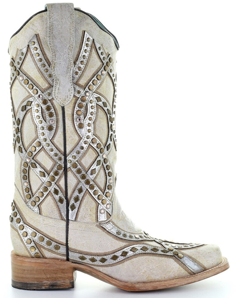 Corral Women's White Overlay Western Boots - Square Toe, White, hi-res