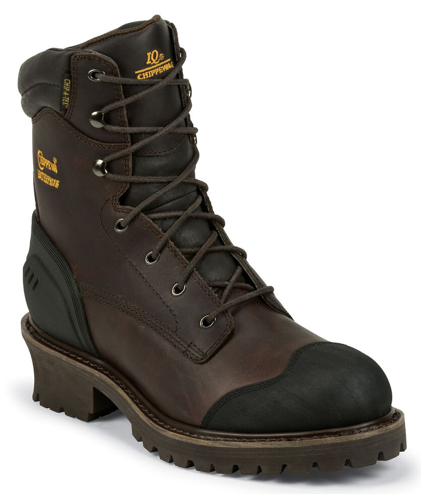 """Chippewa 8"""" Waterproof & Insulated Lace-up Logger Boots - Composite Toe, Chocolate, hi-res"""
