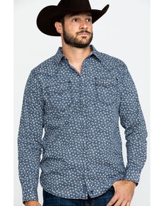 Moonshine Spirit Men's Viper Room Floral Print Long Sleeve Western Shirt , Navy, hi-res