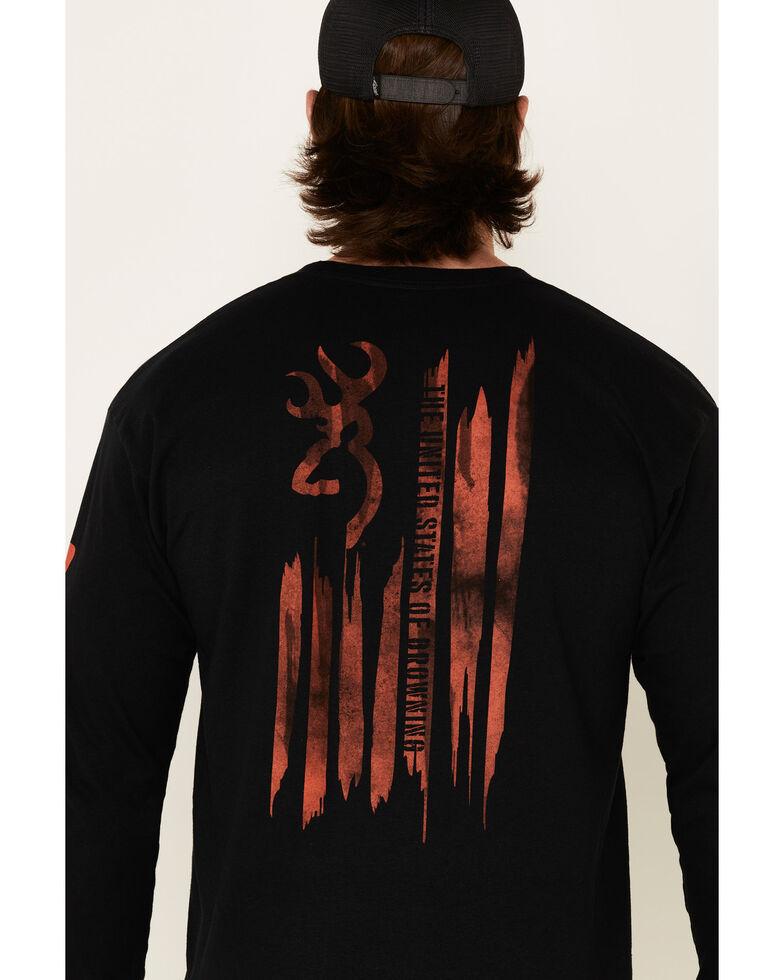 Browning Men's Patriotic Paint Stroke Distressed Graphic Long Sleeve T-Shirt , Black, hi-res