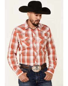 Wrangler Men's Orange Plaid Long Sleeve Fashion Snap Western Shirt , Orange, hi-res