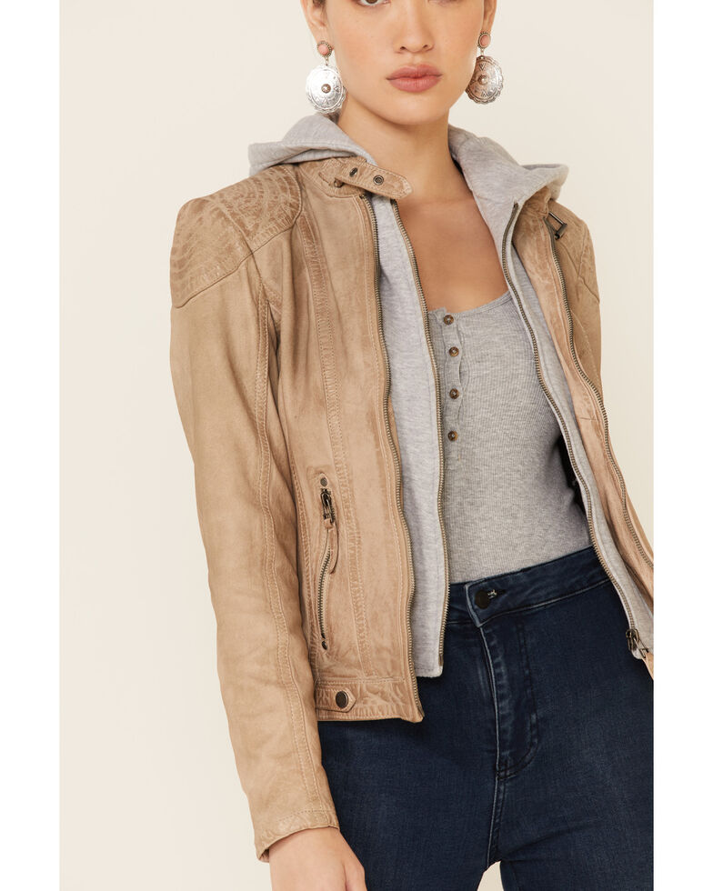 Mauritius Leather Women's Taupe Casha Zip-Front Hooded Jacket , Taupe, hi-res