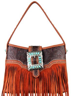 Montana West Trinity Ranch Concealed Handgun Fringe Design Handbag, Brown, hi-res