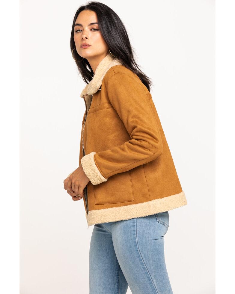 Miss Me Women's Tan Sherpa Lined Zip Jacket , Tan, hi-res