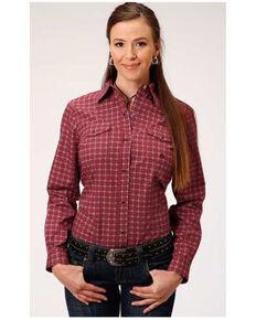 Roper Women's Red Geo Long Sleeve Western Shirt , Red, hi-res