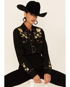 Roper Women's Black Rose Embroidered Twill Retro Long Sleeve Snap Western Shirt , Black, hi-res