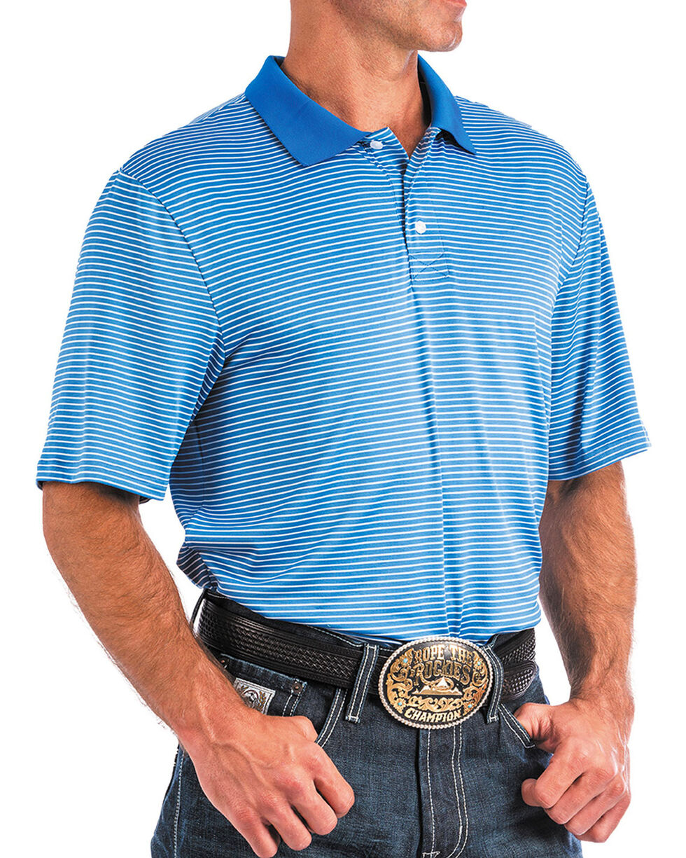 Cinch Men's ArenaFlex Blue Striped Athletic Polo, Blue, hi-res
