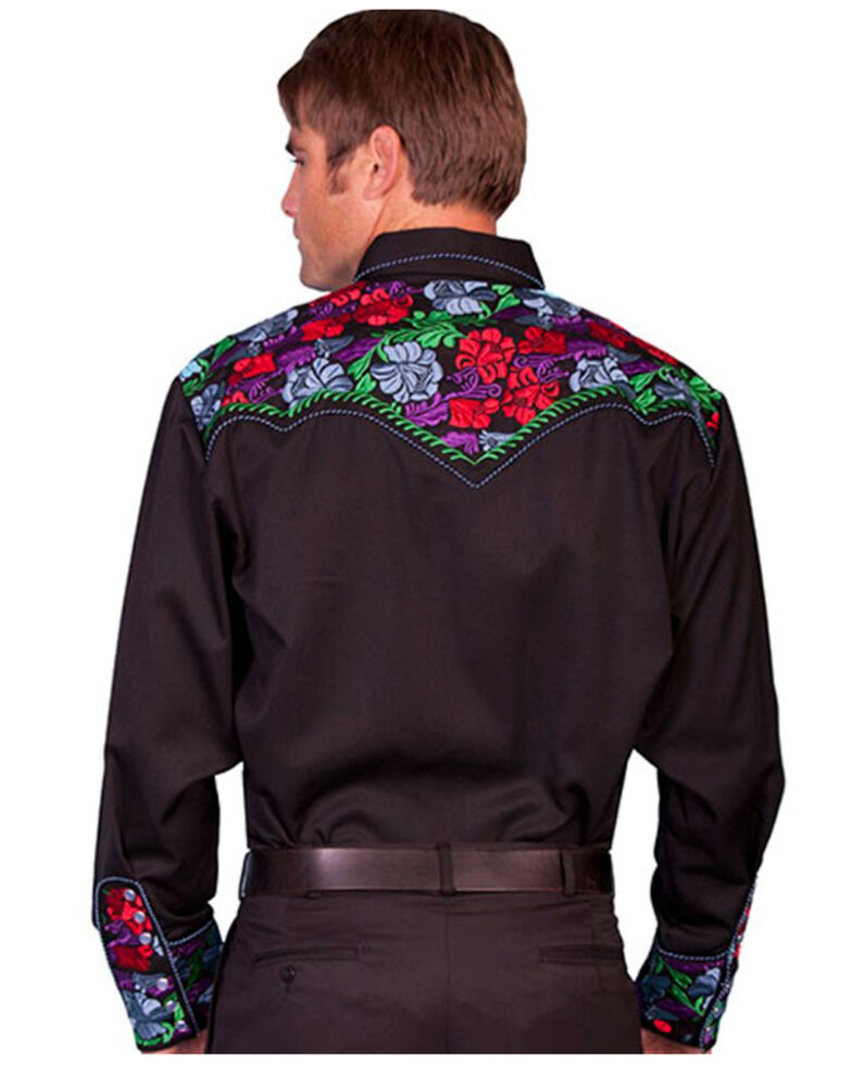 Scully Men's Vibrant Floral Embroidered Retro Long Sleeve Western Shirt, Dark Blue, hi-res