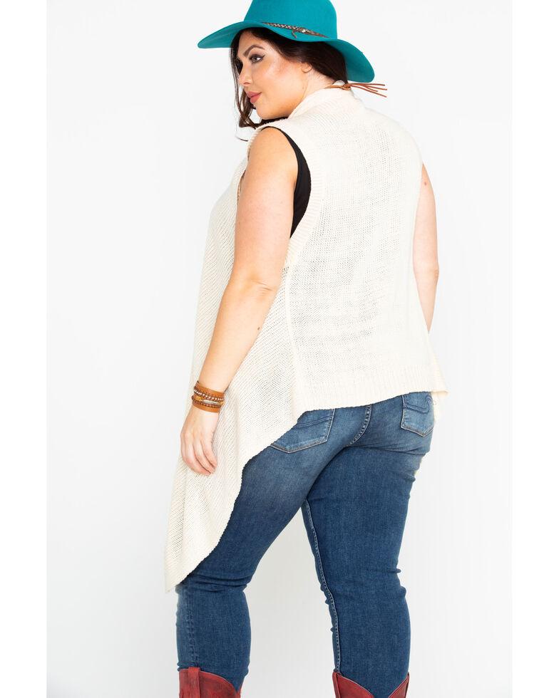 Flying Tomato Women's Cascade Hem Vest - Plus, Cream, hi-res