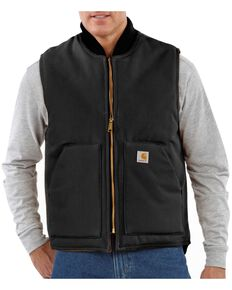 Carhartt Arctic Quilted Canvas Duck Vest - Big & Tall, Black, hi-res