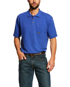 Ariat Men's Royal Rebar Work Polo Shirt - Tall , Blue, hi-res