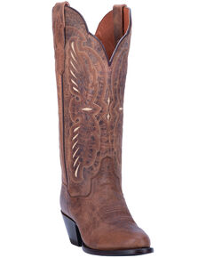 Dan Post Women's Tillie Western Boots - Round Toe, Brown, hi-res