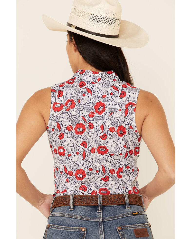 Wrangler Women's Americana Floral Print Sleeveless Snap Western Core Shirt, Red/white/blue, hi-res
