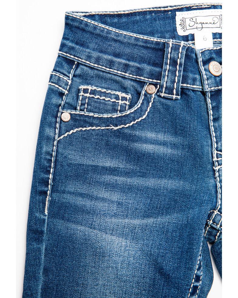Shyanne Girls' Floral & Swirl Bootcut Jeans , Blue, hi-res