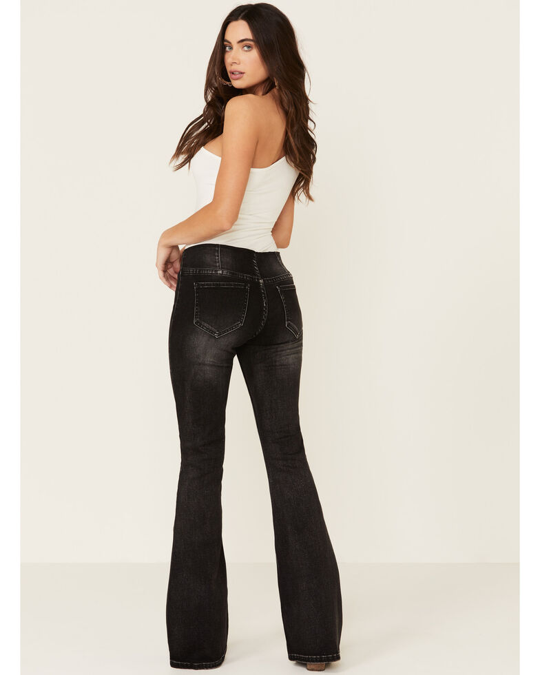 Rock & Roll Denim Women's Charcoal Mid Rise Pull On Flares , Charcoal, hi-res