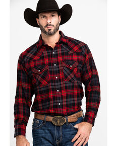 Ely Cattleman Men's Large Plaid Snap Long Sleeve Western Flannel Shirt , Red, hi-res