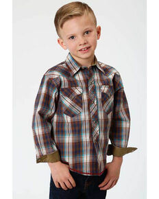 Roper Boys' Performance Desert Dobby Plaid Long Sleeve Western Shirt , Multi, hi-res