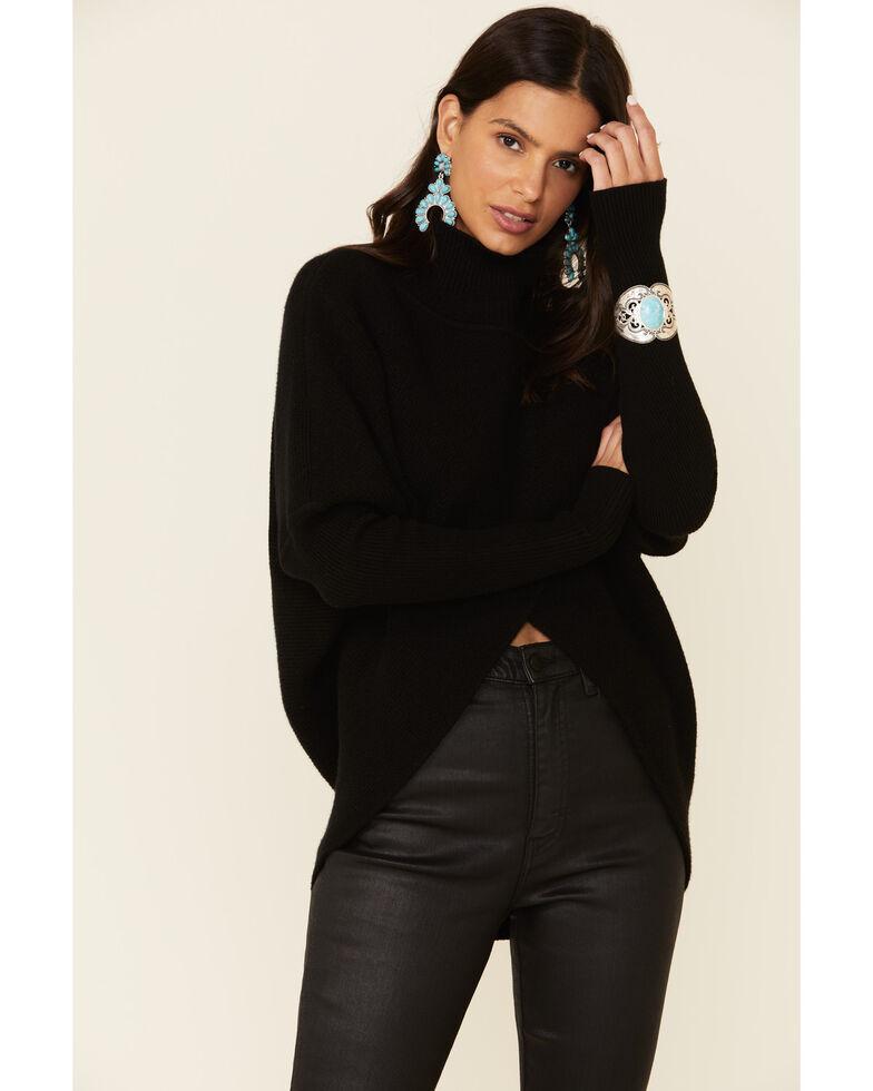 Elan Women's Crossfront Ribbed Turtle Neck Sweater , Black, hi-res
