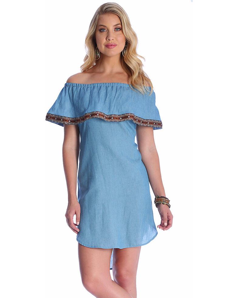 be9503c044ab Wrangler Women s Blue Off-The-Shoulder Tencel Denim Dress - Country ...