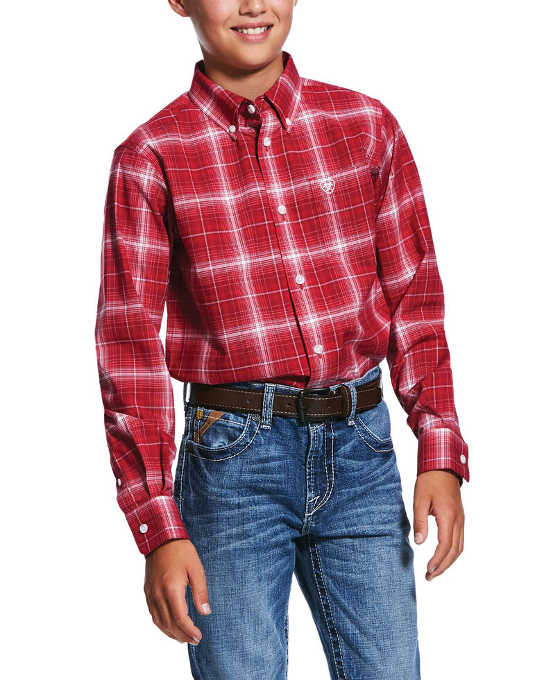 Ariat Boys' Red Small Plaid Long Sleeve Western Shirt , Red, hi-res