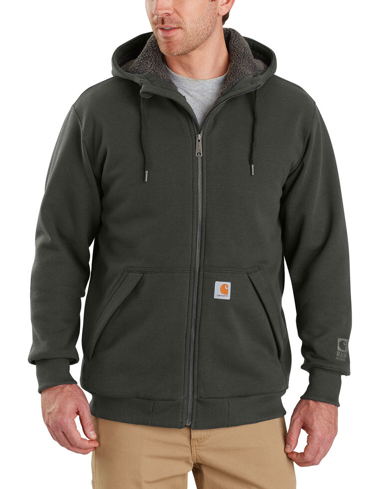 Carhartt Men's Rain Defender Rockland Sherpa-Lined Full-Zip Hooded Jacket , Bark, hi-res