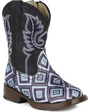 Roper Toddler Girls' Glitter Diamonds Western Boots - Square Toe , Black, hi-res