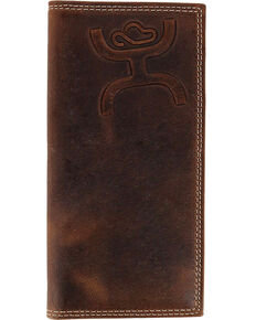 HOOey Men's Tooled Logo Rodeo Wallet, Brown, hi-res
